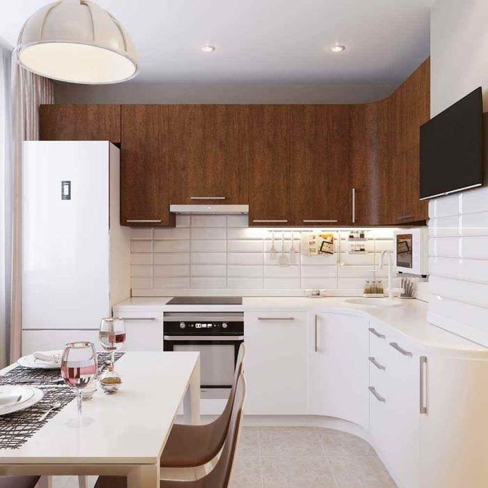 вариант светлого декора кухни 10 кв.м. серии п 44