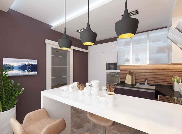 идея красивого дизайна кухни 13 кв.м