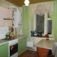 идея красивого стиля кухни с газовой колонкой фото