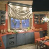 идея необычного дизайна кухни в деревянном доме фото