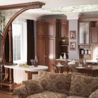 пример светлого интерьера кухни в загородном доме фото