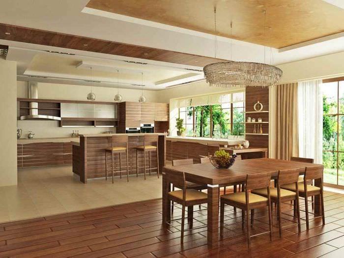 идея яркого стиля кухни в загородном доме