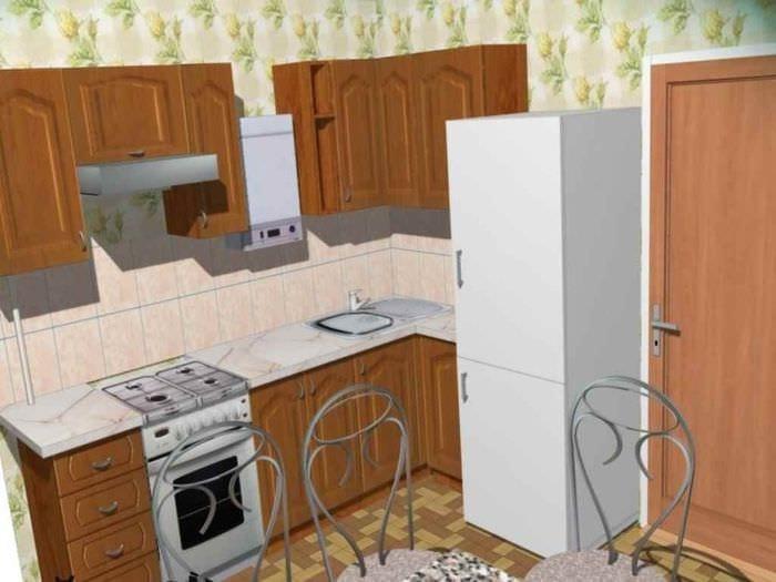 вариант красивого дизайна кухни с газовой колонкой