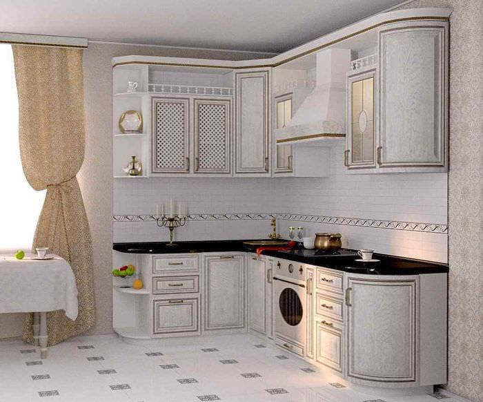 пример светлого декора кухни в классическом стиле