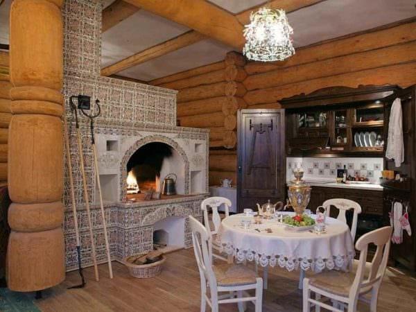 идея использования красивой русской печи в современном дизайне фото