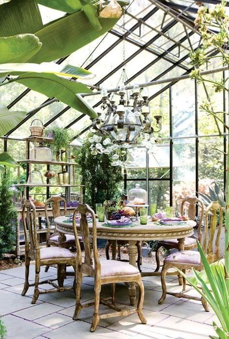 вариант применения красивых идей оформления зимнего сада в доме