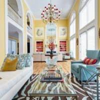 идея использования необычного желтого цвета в интерьере комнаты фото