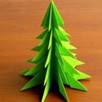 пример создания красивой елки из картона своими руками картинка