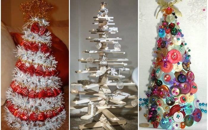 вариант создания красивой елки из картона самостоятельно