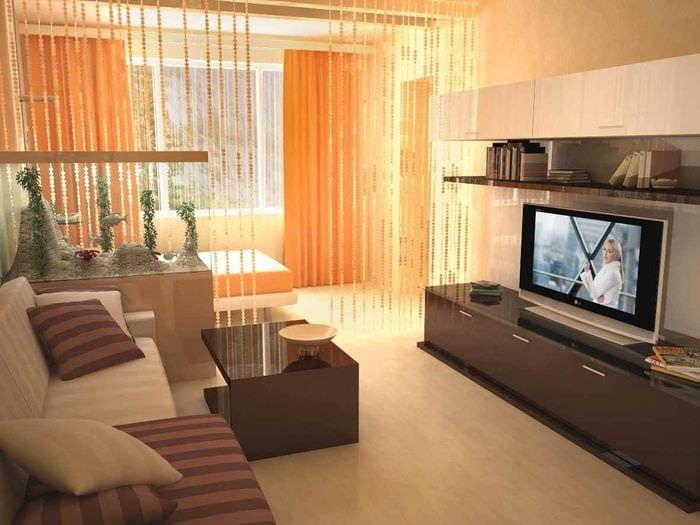 пример необычного дизайна гостиной 15 кв.м