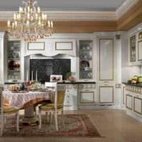 пример необычного интерьера кухни в классическом стиле фото