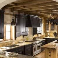 пример светлого дизайна кухни в загородном доме фото