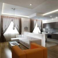 идея яркого интерьера квартиры студии 26 квадратных метров картинка