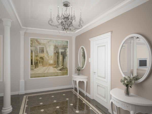 пример светлого дизайна прихожей в частном доме картинка