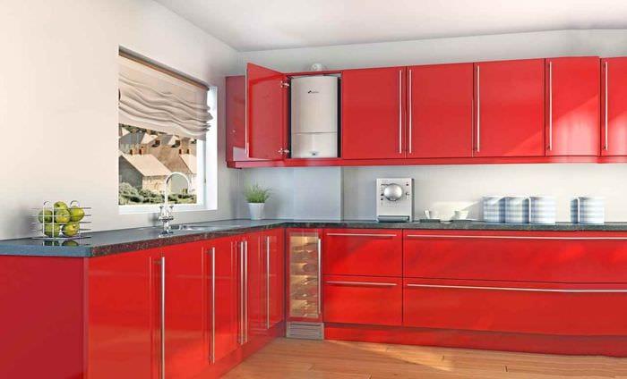 идея необычного стиля кухни с газовой колонкой