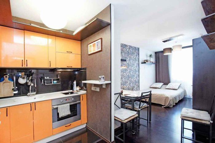вариант необычного стиля квартиры студии 26 квадратных метров