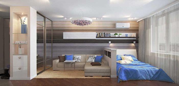 идея яркого интерьера гостиной спальни