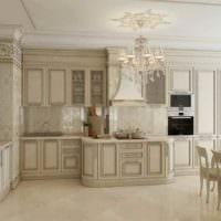 вариант необычного стиля кухни в классическом стиле картинка