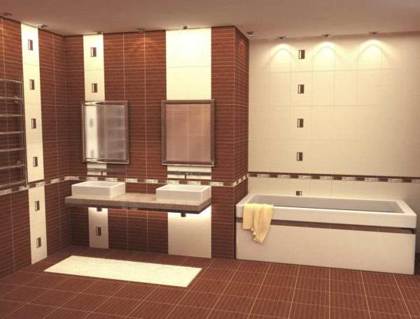пример яркого стиля укладки плитки в ванной комнате фото