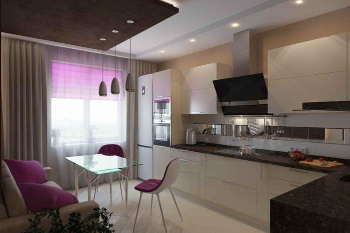 идея яркого стиля кухни 13 кв.м