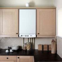 идея необычного интерьера кухни с газовой колонкой фото