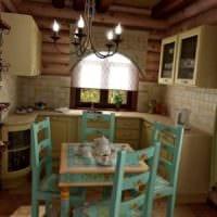 вариант необычного стиля кухни в загородном доме картинка