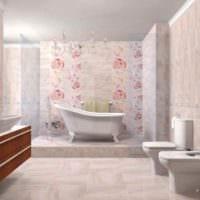 вариант необычного декора укладки плитки в ванной комнате картинка