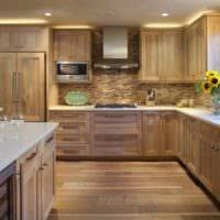 пример красивого стиля кухни в деревянном доме фото