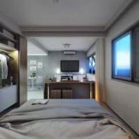 вариант необычного дизайна квартиры студии 26 квадратных метров фото