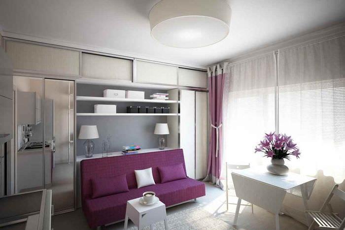 пример светлого стиля квартиры студии 26 квадратных метров