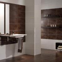 вариант красивого дизайна укладки плитки в ванной комнате фото