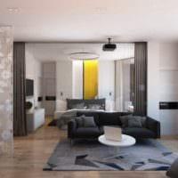 пример светлого декора гостиной спальни картинка
