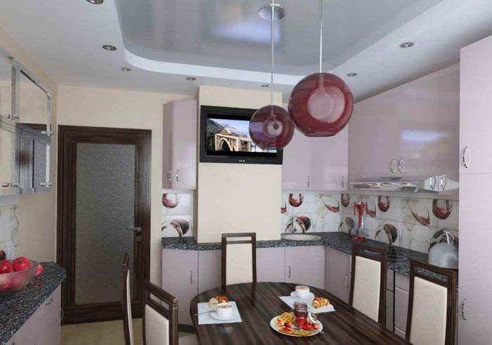 идея яркого декора кухни 10 кв.м. серии п 44