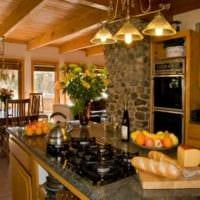 идея светлого декора кухни в деревенском стиле фото