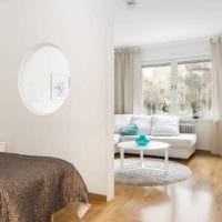 идея красивого дизайна гостиной спальни фото