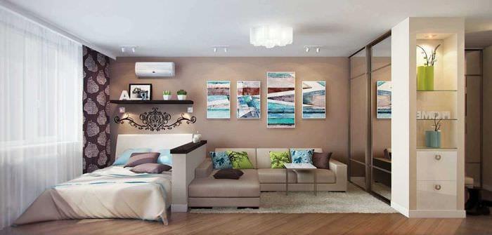 пример необычного интерьера гостиной спальни