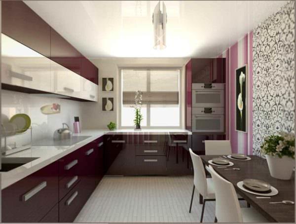 пример необычного интерьера кухни 10 кв.м. серии п 44 фото