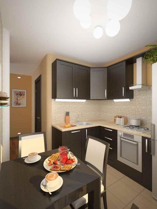 вариант необычного интерьера кухни 13 кв.м