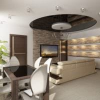 интерьер студии с кухней столовой