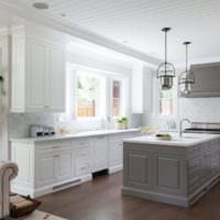 интересный дизайн кухни столовой гостиной в частном доме