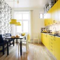 кухня 3 на 3 желтый гарнитур