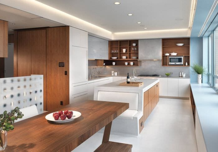 кухня хай тек с эко стилем