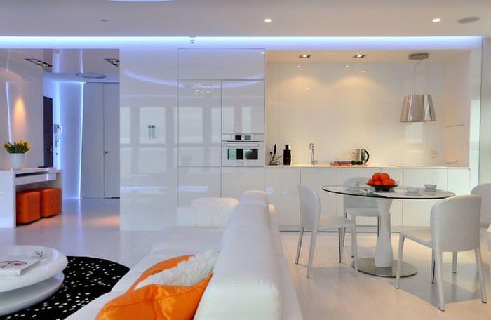 кухня хай тек с подсветкой