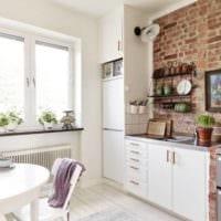 кухня лофт белый стол