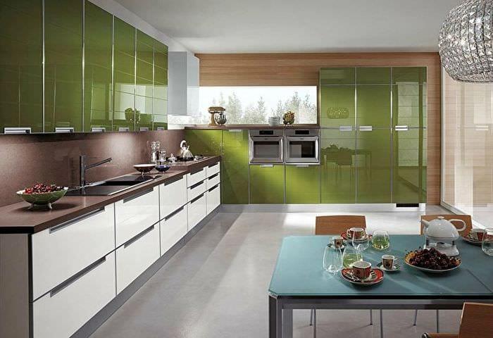 комбинирование оттенков на кухне модерн