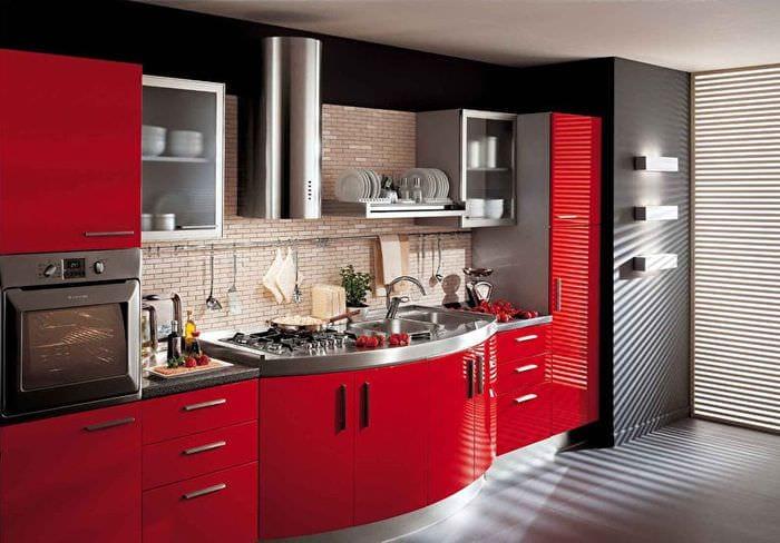 кухня модерн красного цвета
