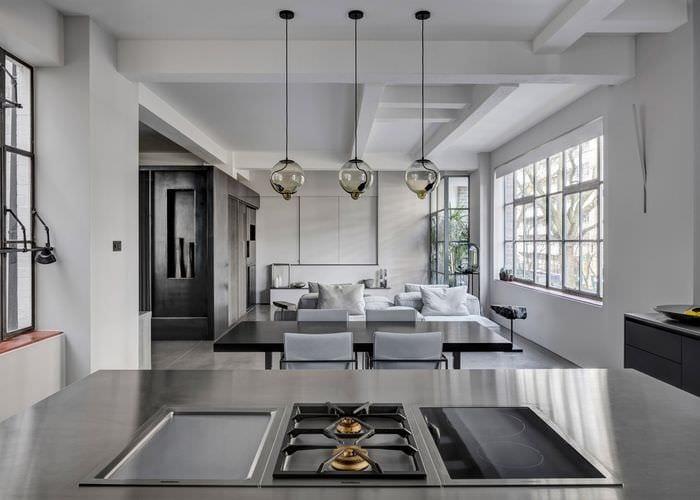 кухня гостиная лофт