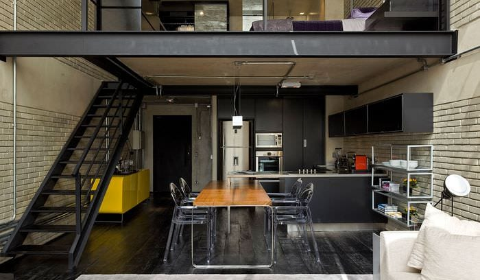 черная кухня лофт