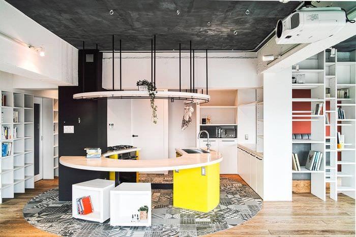 пол на кухне лофт