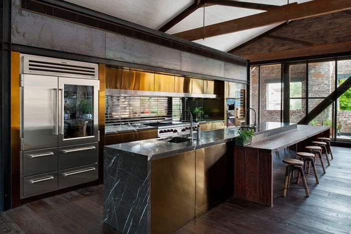 зонирование кухни лофт
